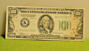 1934-B $100 ONE HUNDRED FRN FEDERAL RESERVE NOTE DALLAS, TX SCARCE