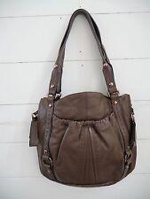 B.Makowsky Brown Soft Leather Handbag Rose Gold Details Purse Tote Hobo