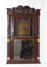 Carved column & splat woodworks transitional clock case @ 1820s Jeromes & Co.