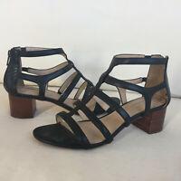 Antonio Melani Black leather Cage sandals Block Heel 7.5 Excellent