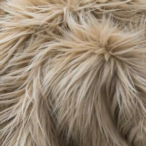 FAUX FUR FABRIC SOLID COLOR LIGHT BROWN SANDY BLOND BTY SHAGGY LONG PILE FASHION