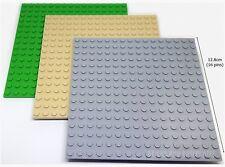 LEGO 3 x 16x16 Pin/Stud PLATES Baseplate - 1xTAN 1xGREY & 1xGREEN (12.8x12.8cm)