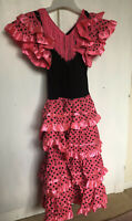 Girls Kids 11-12 Years Pink Flamenco Salsa Spainsh Dancing Ruffle Fancy Dress