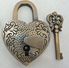 "PADLOCK 3"" Vintage stye antique HEART LOVE brass key lock engraved bridge heavy"