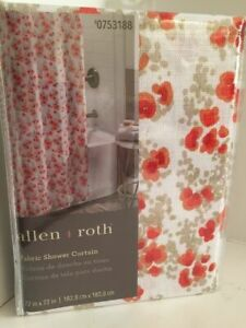 Allen + Roth ALEXIS Floral Fabric Shower Curtain Coral Red Orange on White L54