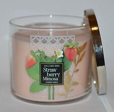 NEW BATH & BODY WORKS STRAWBERRY MIMOSA SCENTED CANDLE 3 WICK 14.5 OZ LARGE PINK