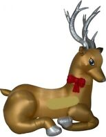 CHRISTMAS 8.5 FT SANTA REINDEER MIXED MEDIA  AIRBLOWN INFLATABLE YARD GEMMY