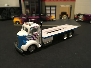 1:64 Hot Wheels Limited Ed 1938 Ford COE Flatbed Car Hauler White w/ Blue Flames