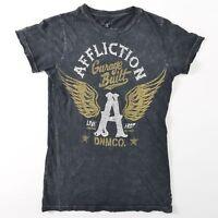 Affliction Burnout Embellished Rhinestone Tee Shirt T USA Womens Medium M