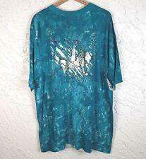 Body Details Tee Green Deadstock NOS Oversize Fitness Foil Tie Dye Vintage 90's