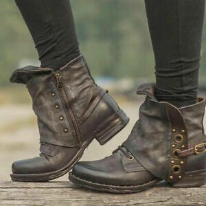 Plus Size Womens Retro Square Toe Ankle Boots Chunky Heels Casual Daily Shoes Sz