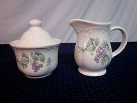 Pfaltzgraff Creamer and Covered Sugar Bowl. Grapevine. 1990-. USA.