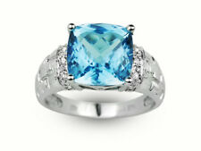5.61 Ct. Natural Cushion Cut Blue Topaz & Diamond Cocktail Ring & Right Hand Rin