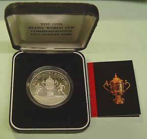 Neuseeland 5 Dollar Rugby World Cup 1991 925er Silber PP, Etui, Zerfifikat