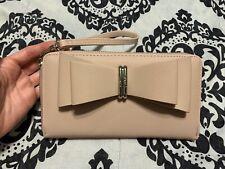 Betsy Johnson Bow Large Zip Around Wallet/ Wristlet- Blush