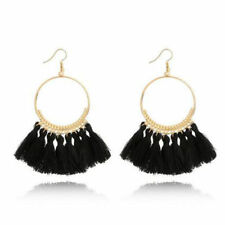 Women's Gold Plated Black Tassel Pendant Earrings Fashion Bohemian Hippy Dangle