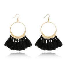 Women's Gold Plated Black Tassel Pendant Earrings Fashion Bohemian Hippy Dangle