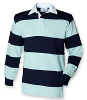 Front Row Mens Long Sleeve Striped Sewn Cotton Rugby Polo Shirt Sports Szs S-2XL