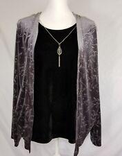 Notations Womens Jacket Camisole Combo Large Velvet Embellished Long Sleeve Flor