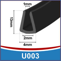 Tall Rubber U Channel Edging Edge | Flexible Trim Seal |  Fits 1mm - 2mm | Black