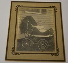 Vintage 1940s Baby & Stroller Black & White Photograph Photo w/ Matte Rare