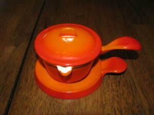 Descoware Belgium Cast Iron Enamelware Butter Warmer Lid & Trivet Flame Orange