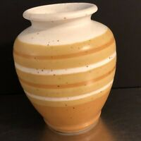 VTG Vase Stoneware Otagiri Hand Crafted Original Made Japan Gold Yellow MCM