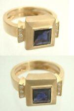 Massiver Ring aus Gold 585 + Saphir Carree + Brillanten - Goldring Brillantring