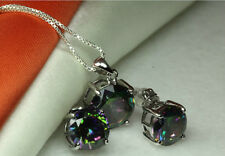 ROUND CUT CZ MYSTIC PEACOCK RAINBOW TOPAZ JEWELRY SET STERLING SILVER 925~MTS2~B