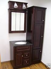 Cherry Stained Solid Wood Bathroom Set