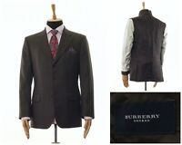 Mens BURBERRY Blazer Coat Jacket Wool Checked Brown Size 42 52
