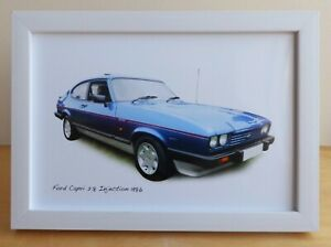 Ford Capri 2.8i1986 (Blue) - In Black, White or Silvery Frame - Two sizes
