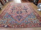 Antique Serapi Heriz rug 8.10 x12.8 rare carpet soft rose color 19th century