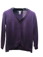 M&S Per Una Ladies Purple Cardigan Top Button Fastening Size 8 10