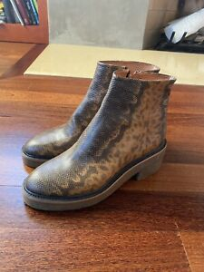 Snakeskin Python Embossed Leather Dries Van Noten Ankle Boots 38