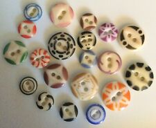 Lot 20 Antique China Stencil Buttons Old Small Variety Colors Patterns