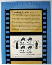 CHARLIE CHAPLIN STAMPS CARD CZECHOSLOVAKIA FAMOUS SILENT FILM STAR COMEDIAN