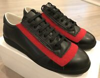 850$ Maison Margiela Black Leather Red Velcro Sneakers size US 10 Made in Italy