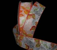 """5 Yards Orange Flowers Balihai Sheer Fiber Wired Ribbon 1 1/2""""W"""