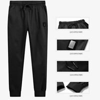 Black Long Sweatpants Men's Jersey Joggers Side Pockets Comfortable Athletic Fit