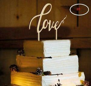 "Wooden ""Love"" Cake Topper - Rustic Wood Wedding Reception Decoration - Mr & Mrs"