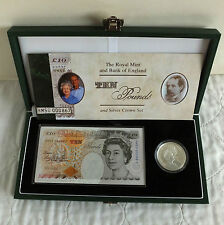 1997 £5 GOLDEN WEDDING ANNIV SILVER PROOF + £10 BANKNOTE SET - complete