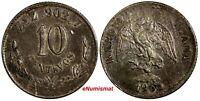 Mexico SECOND REP.Silver 1900 Zs Z 10 Centavos Zacatecas Mintage-219,000 KM404.3
