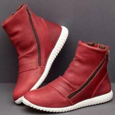 Zip Womens Wear Flat Shoes Non-slip Faux Leather Casual 1 Pair Short Boots KS