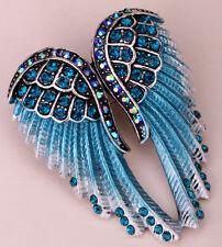 Angel wings brooch pendant pin BD03 biker bling jewelry gift silver blue