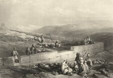 ISRAEL. Palestine. 'Ancient Masonry Hebron. Shepherds. Goats.  1847 old print