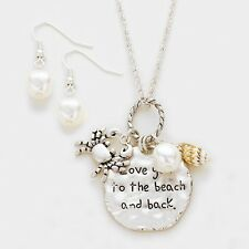 I Love You To The Beach and Back Necklace Crab Pearl Charms Pendant Silver Beach