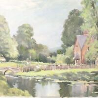 English School oil painting landscape river people impressionist 20th century