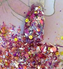 glitter mix acrylic gel Nail Art   STAINED GLASS