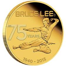 2015 75th Anniversary of Bruce Lee 1/4oz .9999 Gold Proof $25 Coin TUVALU